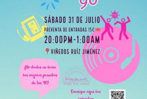 Cartel fiesta temática años 90, el sábado 31 de julio, preventa de entradas 15 euros, de las 20 a la 1 am