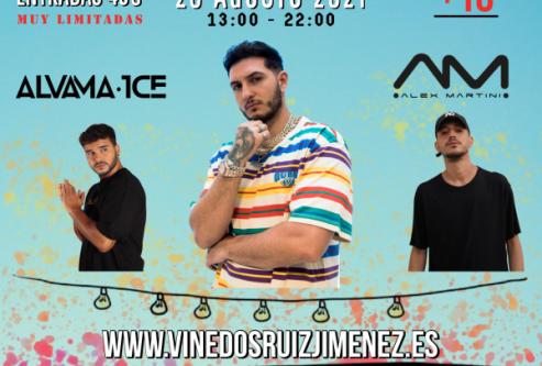 Cartel de Omar Montes, Alvama Ice y Alex Martini, evento tiene lugar el 28 de agoto de 2021, para mayores de 18 años, entradas 45 euros